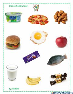Interactive worksheet Click on healthy food