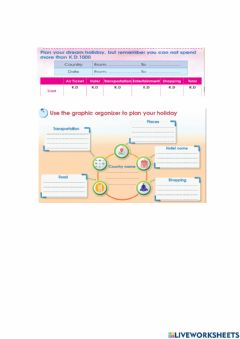 Interactive worksheet Plan your holiday