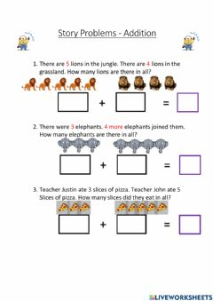 Interactive worksheet Story problems grade 1 easy addition