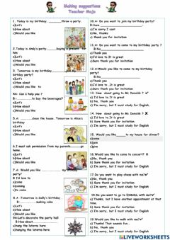 Interactive worksheet Sugeestions-Accepting and refusing