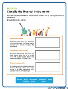 Interactive worksheet Classify the musical instruments
