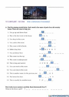 Interactive worksheet The Canterville Ghost - Vocabulary- Rooms