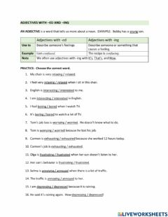 Interactive worksheet Adjectives with -ed and -ing