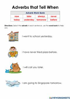 Ficha interactiva Adverbs That Tell When