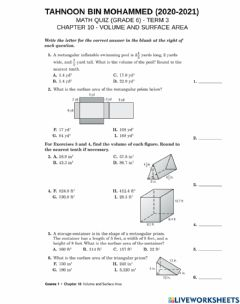 Interactive worksheet Review assessment - chapter 10 - volume and surface area