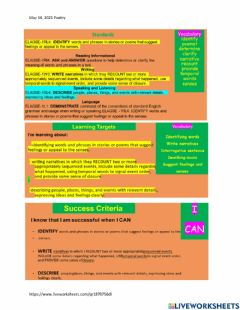 Interactive worksheet Narrative Writing and Poetry
