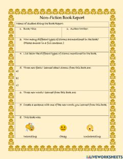 Interactive worksheet Non-Fiction Book Report 3