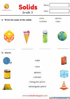Interactive worksheet Solids match and write the name of the solids worksheet