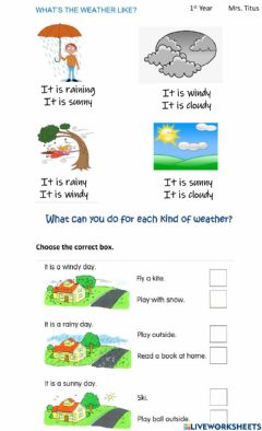Interactive worksheet What's the weather