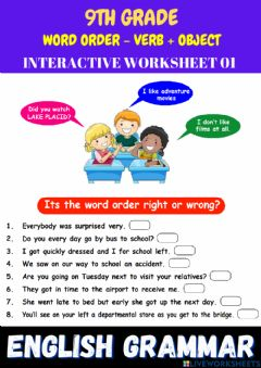 Interactive worksheet 9th- eng - ps 01 - word order - verb + object