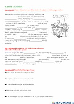 Interactive worksheet The gerund or The Infinitive