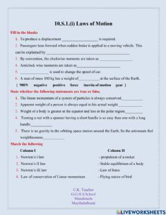 Interactive worksheet Laws of Motion (i)