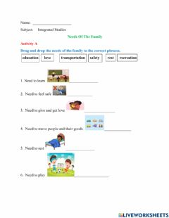 Interactive worksheet Needs Of The Family