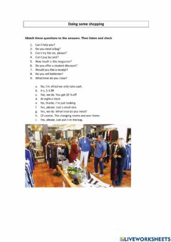 Interactive worksheet Doing some shopping