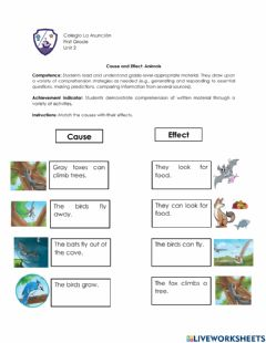 Interactive worksheet Cause and Effect: Animals