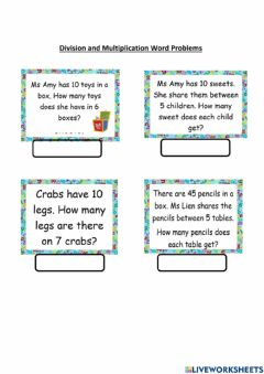Ficha interactiva Multiplication and Division Word Problems