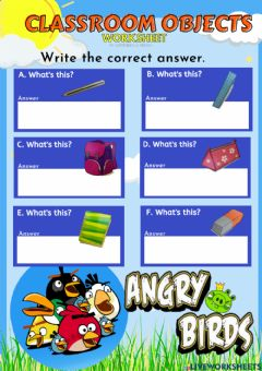 Interactive worksheet Unit 1- Classroom Objects-What's this?
