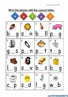 Interactive worksheet Middle sound