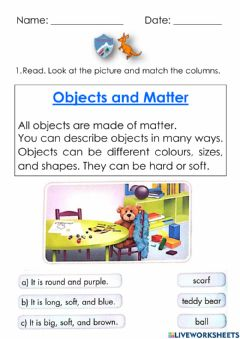 Interactive worksheet Objects and matter