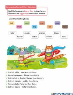 Ficha interactiva Comparative forms of short adjectives
