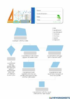 Interactive worksheet Quadrilateral Family Tree