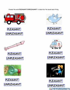 Interactive worksheet Pleasant and unpleasant sounds