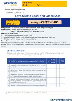 Interactive worksheet Activity 1: Let´s create local and Global Ads prea1 EDA2 irc