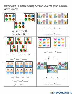 Interactive worksheet Multiplication Sentence Repeated Addition