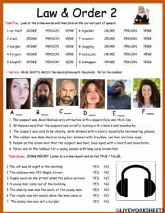 Interactive worksheet Law and Order 2 WITH AUDIO