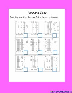 Interactive worksheet Tens and ones 30 family