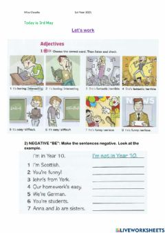 Interactive worksheet Verb to be-. adjectives