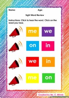 Interactive worksheet Sight Words: me, we, in, on