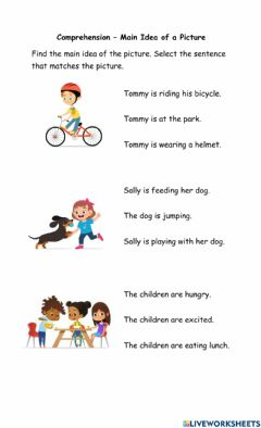 Interactive worksheet Main idea of Pictures