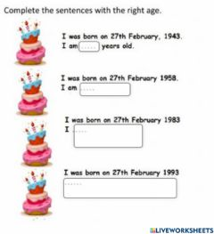 Interactive worksheet Numbers and Age