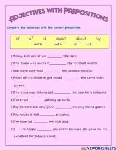 Interactive worksheet Adjectives with prepositions