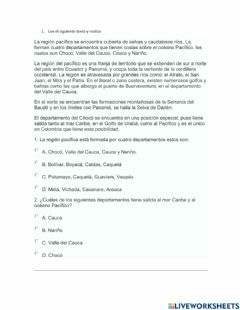 Interactive worksheet Region pacifica colombiana