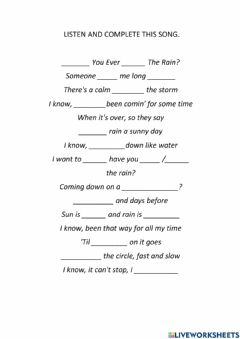 Interactive worksheet HAVE YOU EVER SEEN THE RAIN