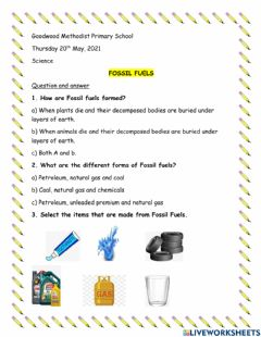 Interactive worksheet Fossil Fuels