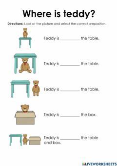Interactive worksheet Prepositions of Where