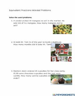 Interactive worksheet Equivalent Fractions Worded Problems
