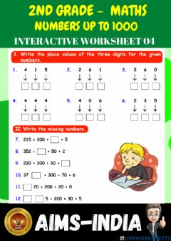 Ficha interactiva 2nd-maths-ps04- numbers up to 1000