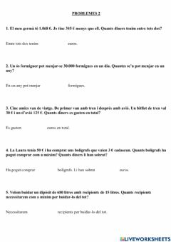 Interactive worksheet Problemes 2