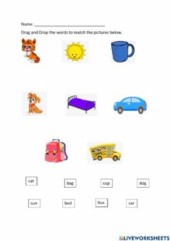 Interactive worksheet Word to Picture Association