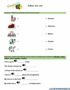 Interactive worksheet Suffixes -tion, -sion