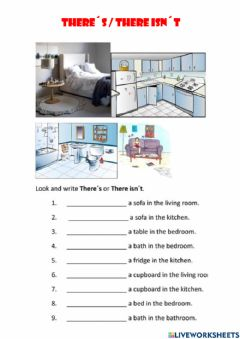 Interactive worksheet There-s - there isn-t