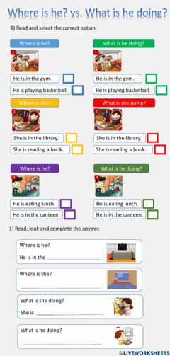 Interactive worksheet He-she is at school