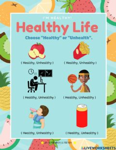 Interactive worksheet I'm Healthy! Healthy Life For Kids.