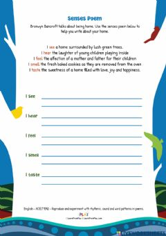 Interactive worksheet Coming Home To Country - Senses Poem