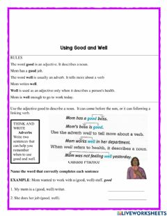 Interactive worksheet Using good and well