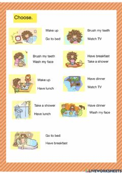 Interactive worksheet Daily routine - 1-2 select